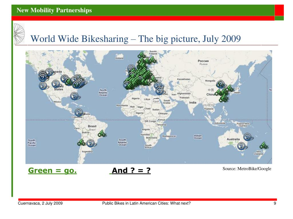 World Wide Bikesharing – The big picture, July 2009