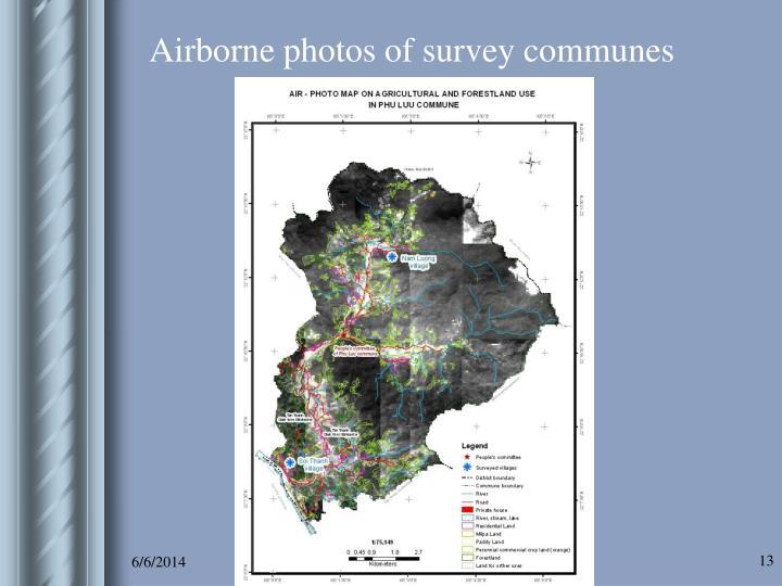Airborne photos of survey communes