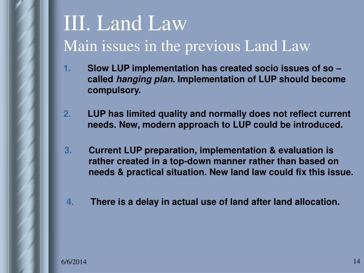 III. Land Law
