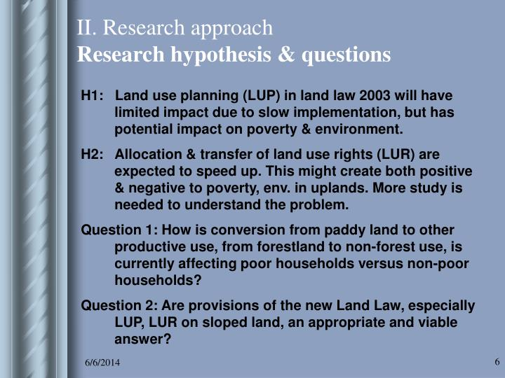 II. Research approach
