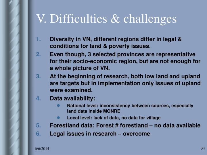 V. Difficulties & challenges