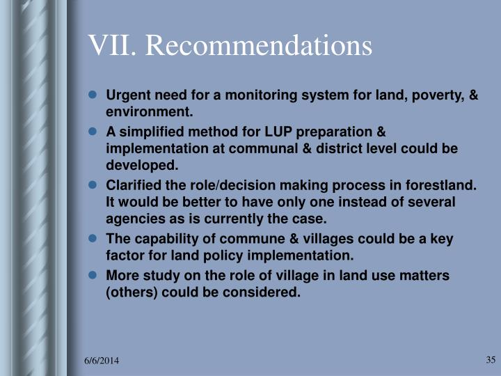 VII. Recommendations