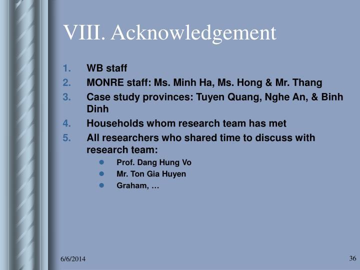 VIII. Acknowledgement