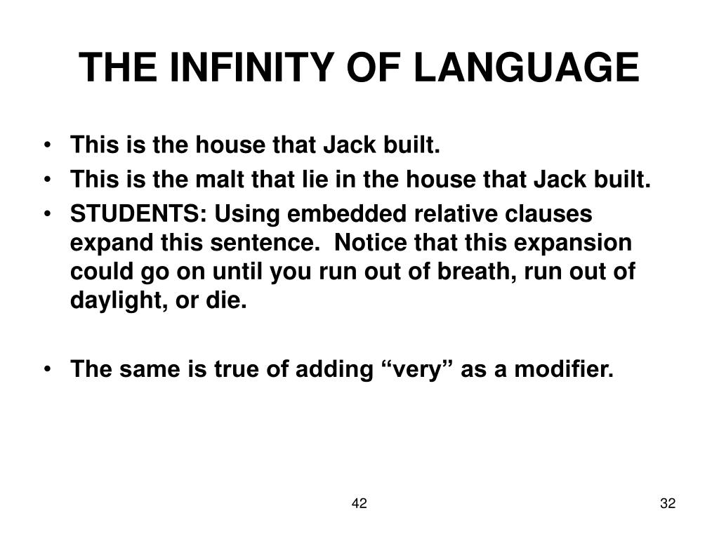 THE INFINITY OF LANGUAGE