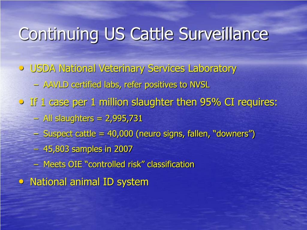 Continuing US Cattle Surveillance