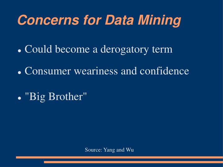 Concerns for Data Mining