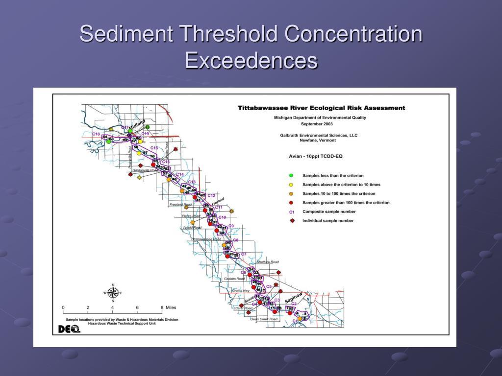 Sediment Threshold Concentration Exceedences