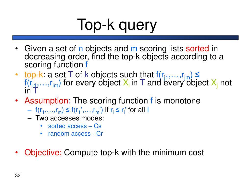 Top-k query