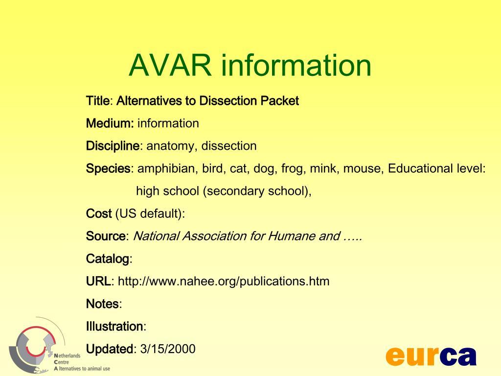 AVAR information