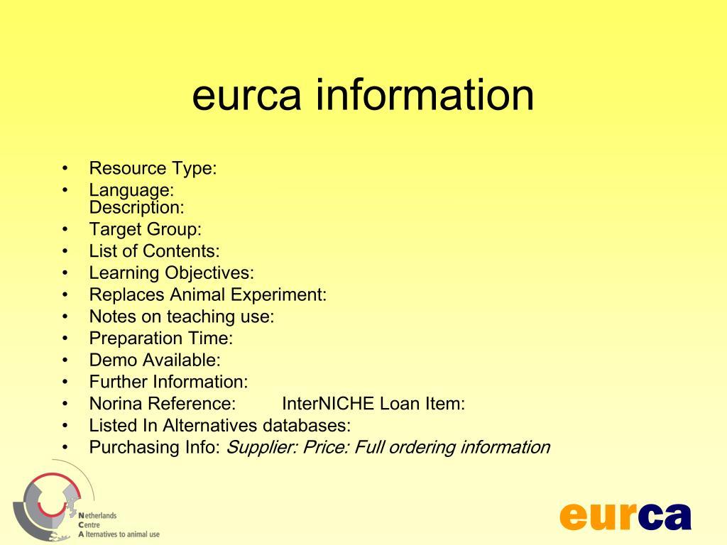 eurca information