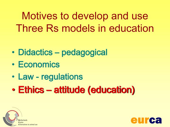 Motives to develop and use three rs models in education