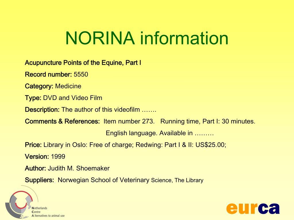 NORINA information