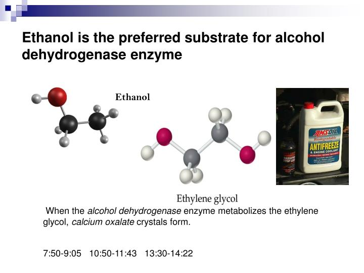 Ethanol is the preferred substrate for alcohol dehydrogenase enzyme
