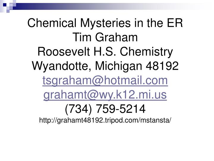 Chemical Mysteries in the ER