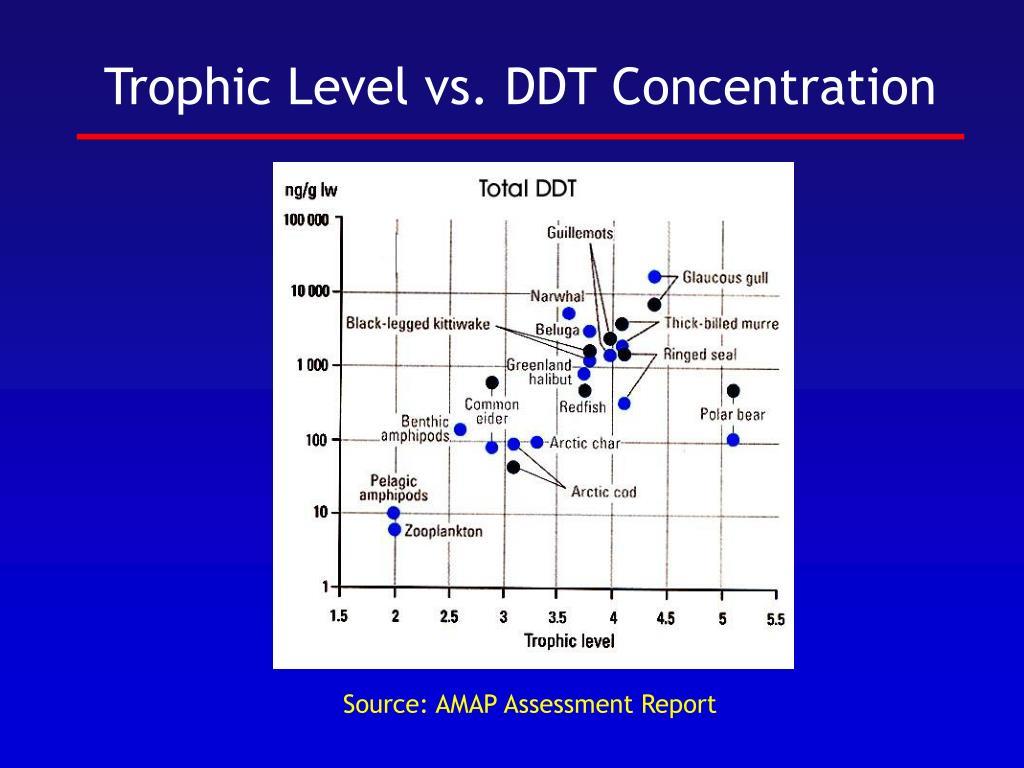 Trophic Level vs. DDT Concentration