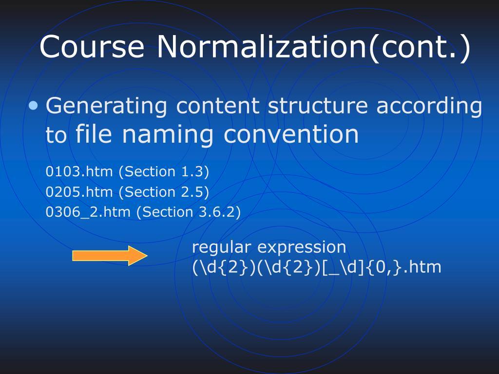 Course Normalization(cont.)