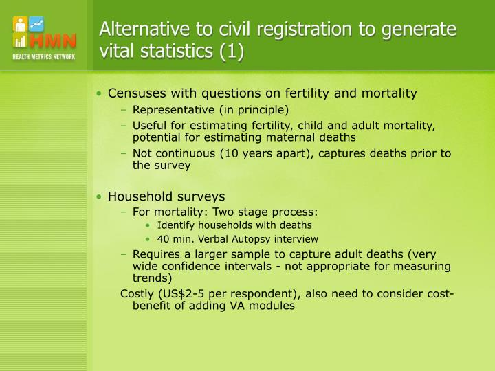 Alternative to civil registration to generate vital statistics (1)