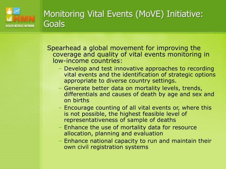 Monitoring Vital Events (MoVE) Initiative: