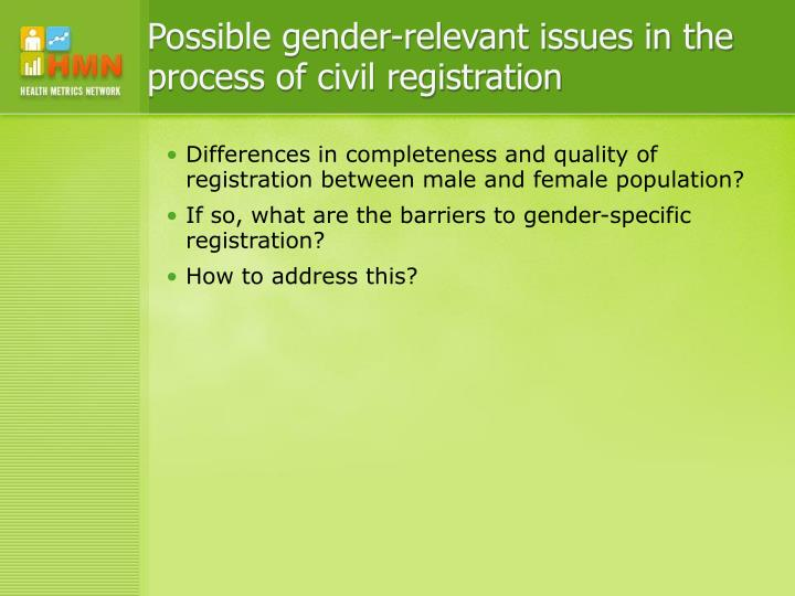Possible gender-relevant issues in the process of civil registration