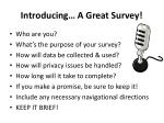 introducing a great survey