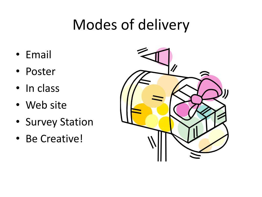 Modes of delivery