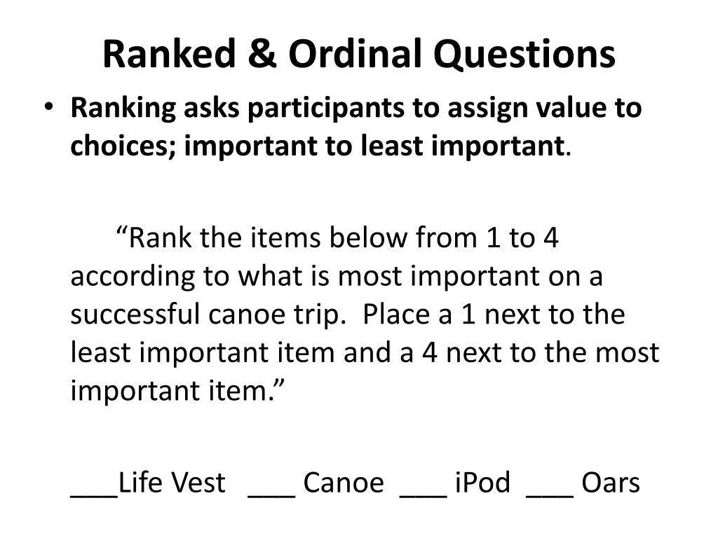 Ranked & Ordinal Questions