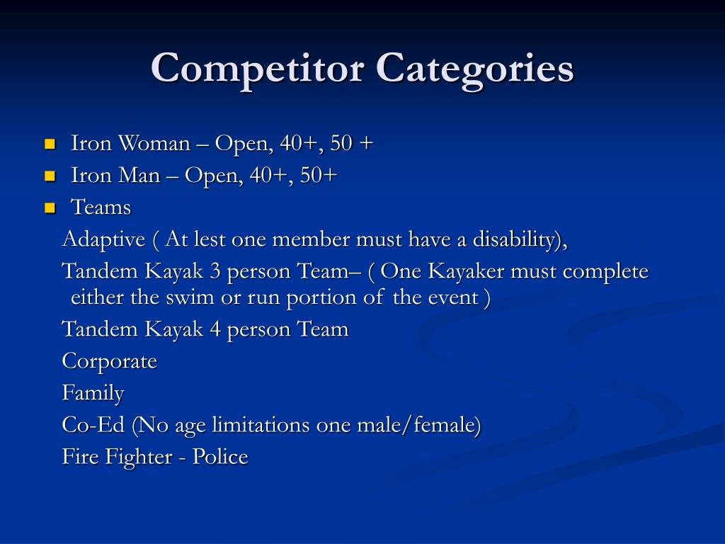 Competitor Categories