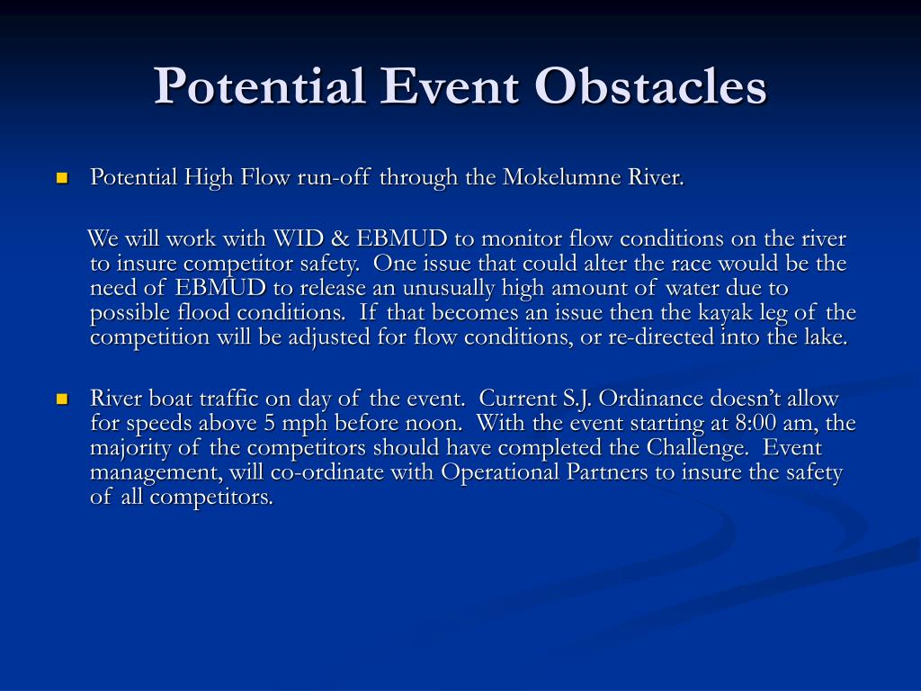 Potential Event Obstacles