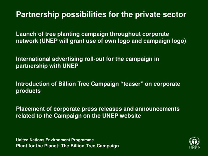 Partnership possibilities for the private sector