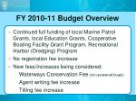 fy 2010 11 budget overview