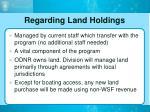 regarding land holdings