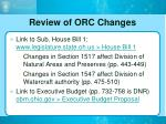 review of orc changes