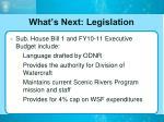 what s next legislation