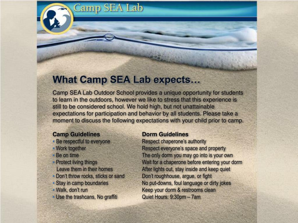 What Camp SEA Lab expects…