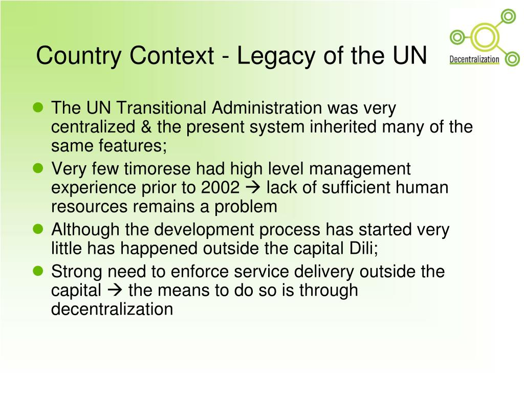 Country Context - Legacy of the UN