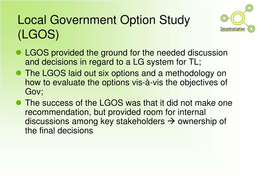 Local Government Option Study (LGOS)