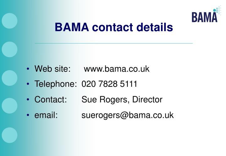 BAMA contact details