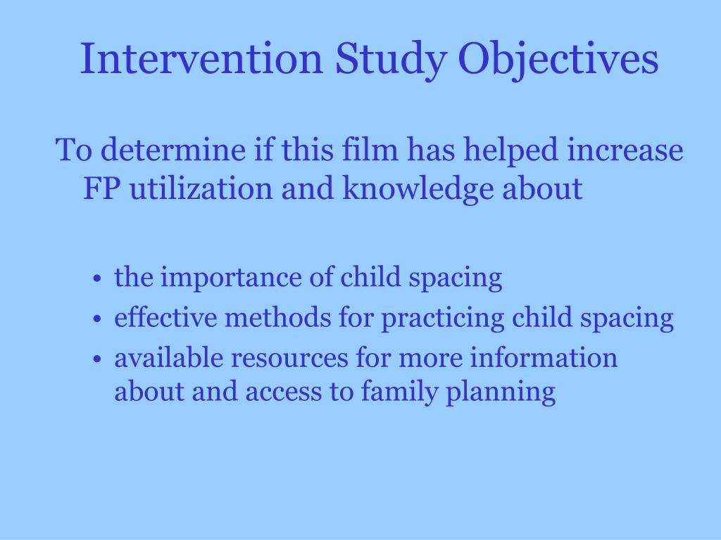 Intervention Study Objectives
