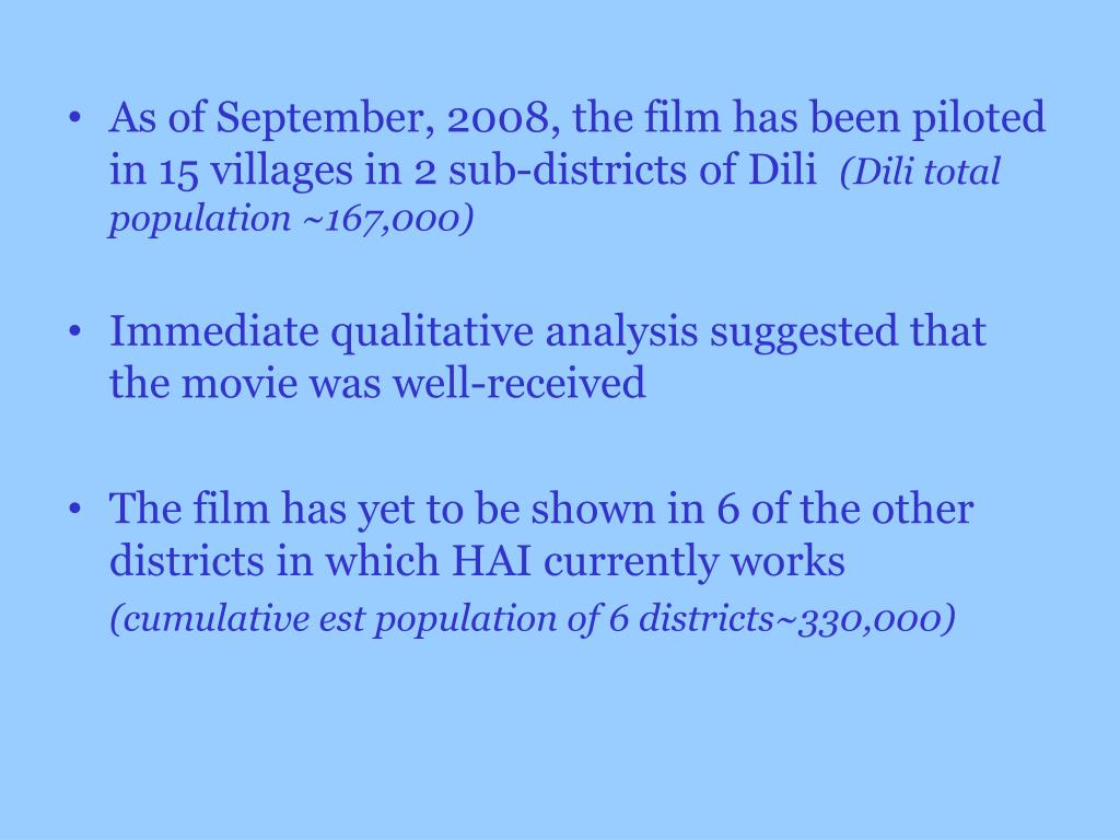 As of September, 2008, the film has been piloted in 15 villages in 2 sub-districts of Dili