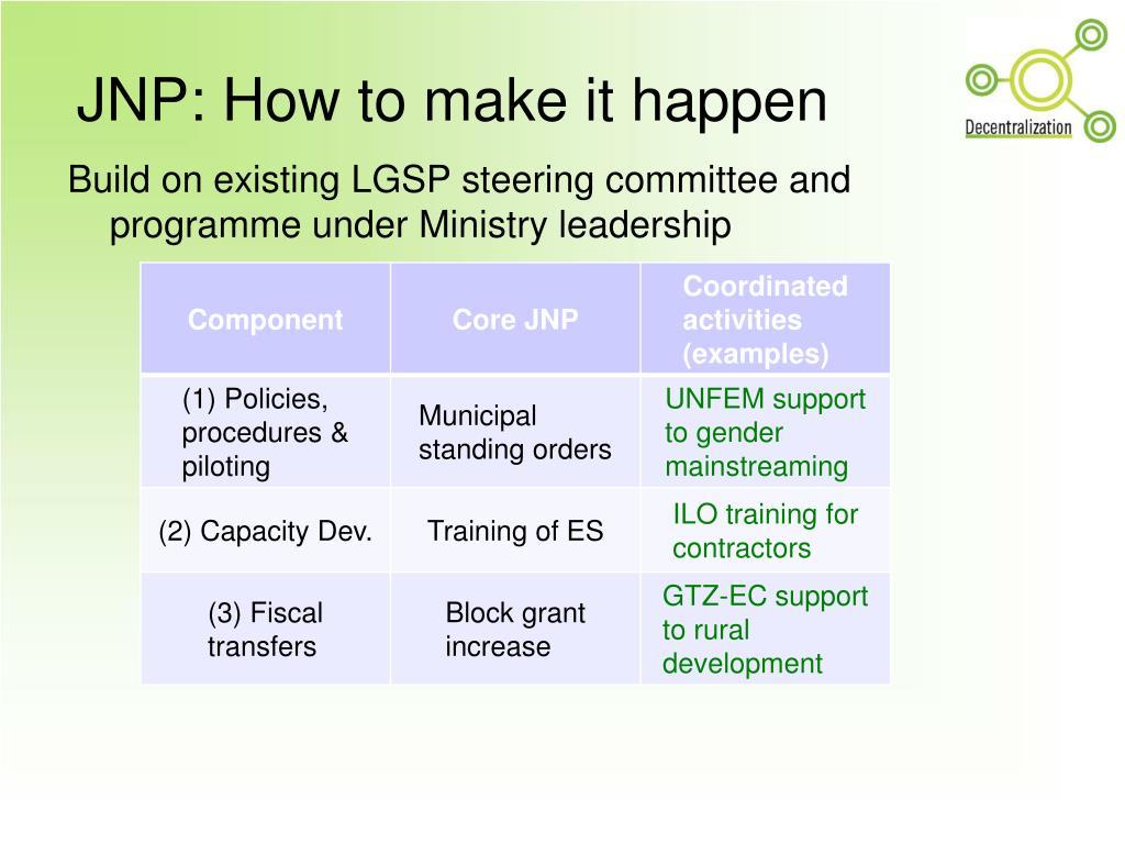 JNP: How to make it happen