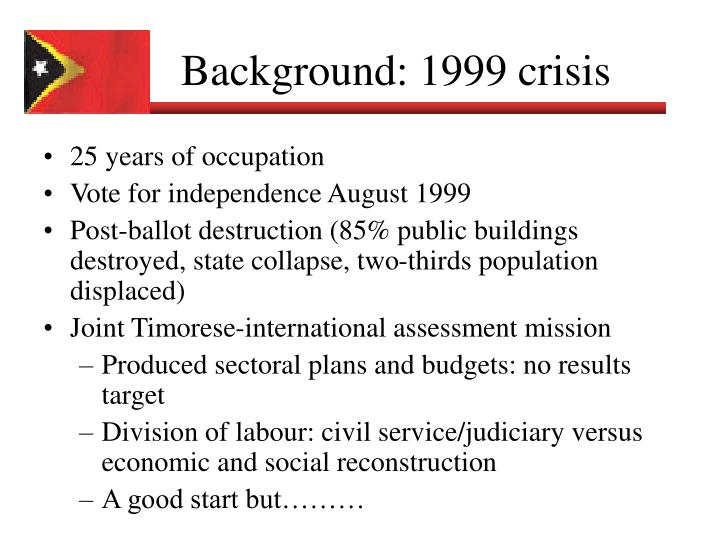 Background 1999 crisis
