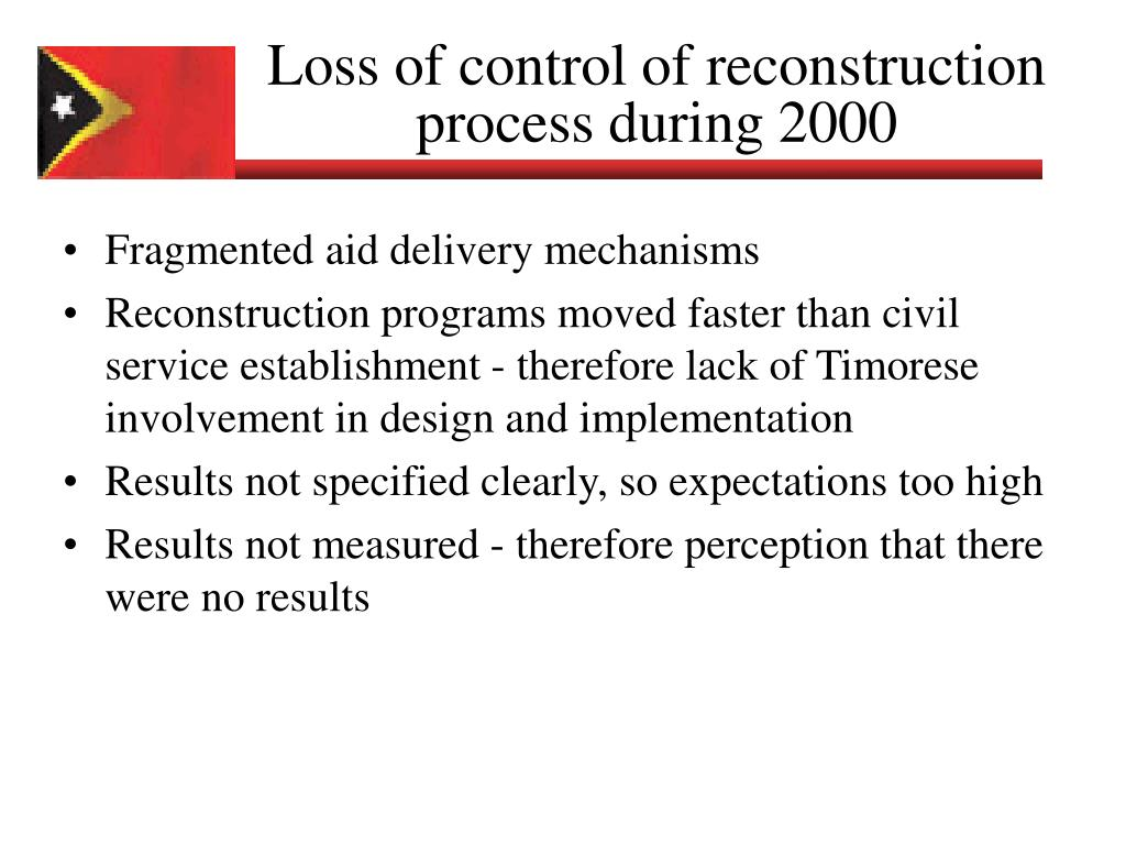 Loss of control of reconstruction