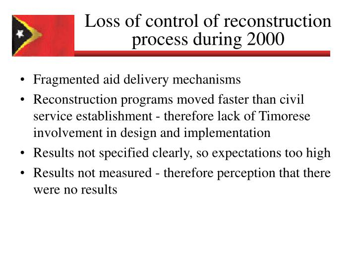 Loss of control of reconstruction process during 2000