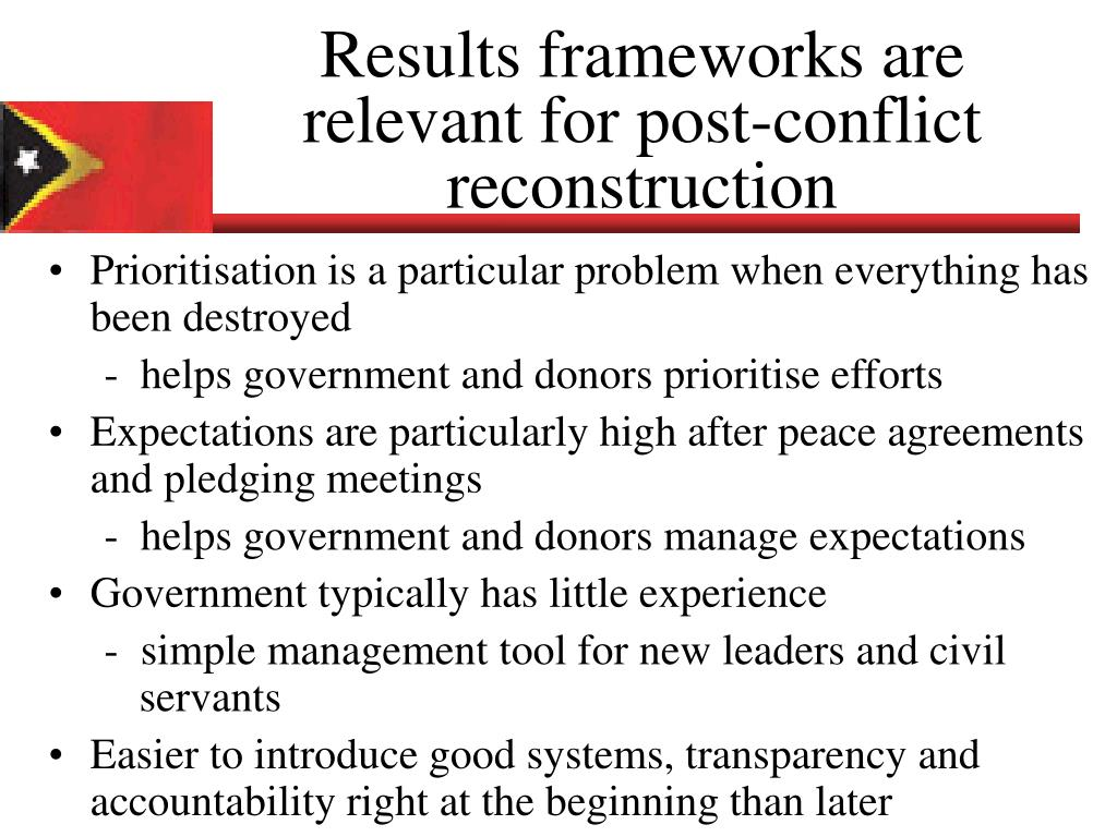 Results frameworks are relevant for post-conflict reconstruction