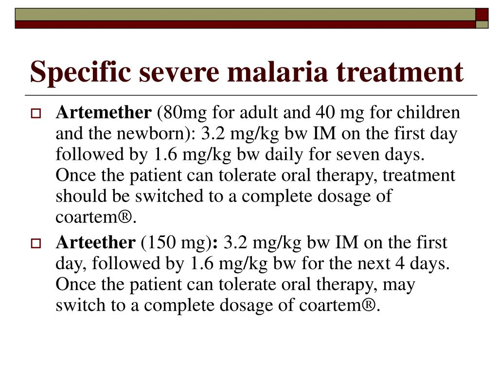 Specific severe malaria treatment