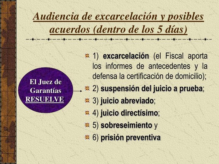 Audiencia de excarcelación y posibles acuerdos (dentro de los 5 días)
