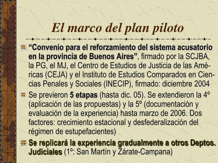 El marco del plan piloto