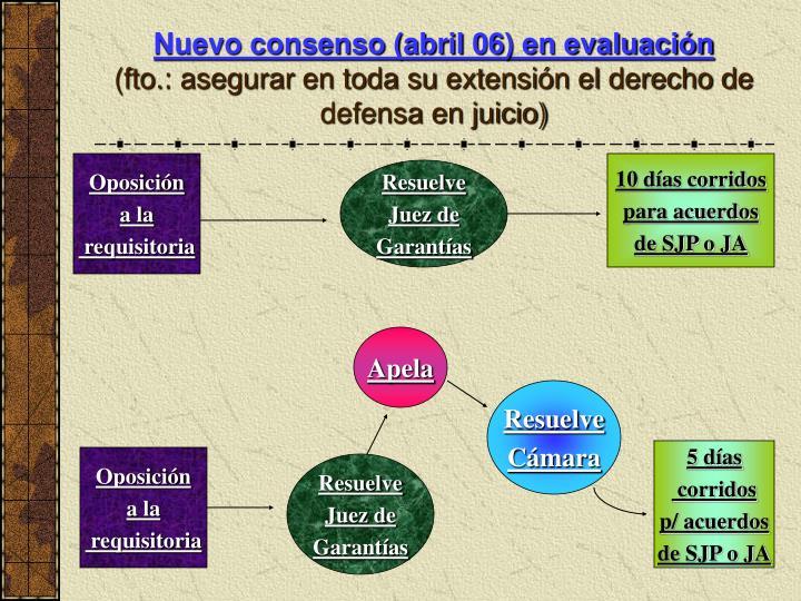 Nuevo consenso (abril 06) en evaluación