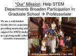 our mission help stem departments broaden participation in graduate school professoriate