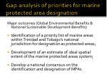 gap analysis of priorities for marine protected area designation33